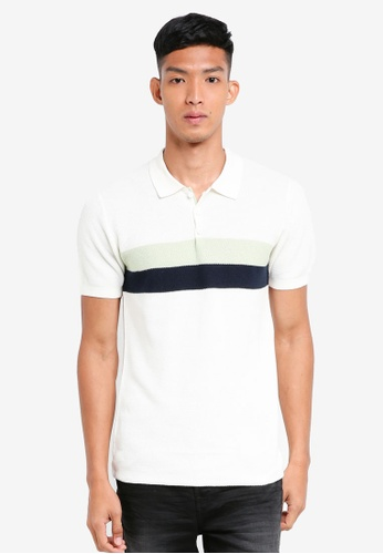 Only & Sons white Aabu Knit Polo Shirt 98964AA46A4E22GS_1