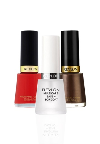 Revlon brown and red REVLON® NAIL ENAMEL SET - Revlon MultiCare Base + Top Coat™ + FOXY + FEARLESS RE737BE07CYESG_1
