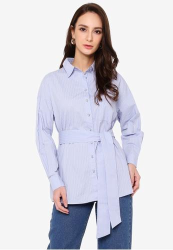 Hopeshow blue Striped A-Line Button Shirt with Sash Belt DD279AAB00C884GS_1