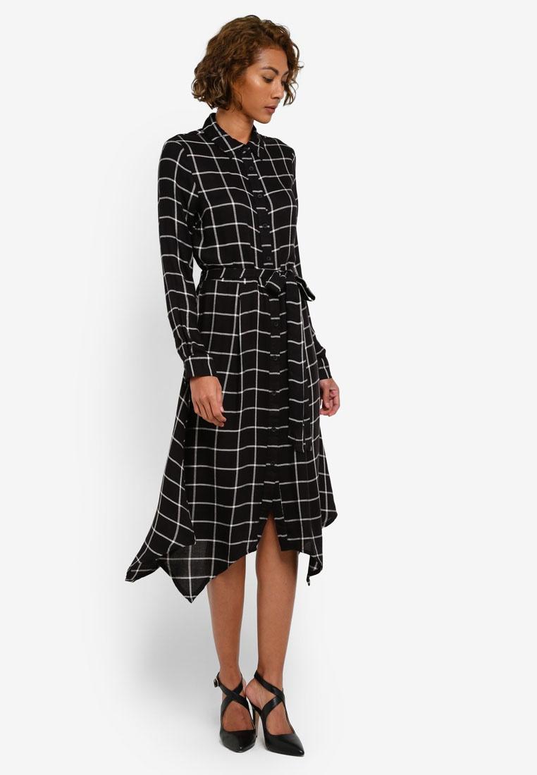 Dress Shirt Black WAREHOUSE Check Pattern Hem Hanky qROwA6