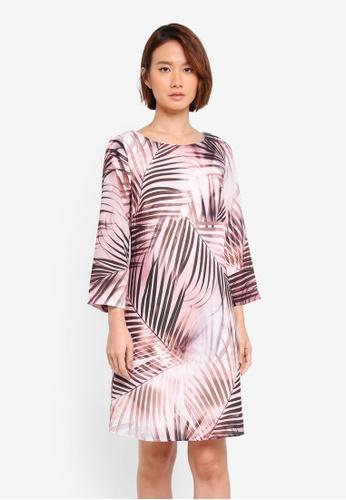 Wallis pink Neutral Palm Print Bell Sleeve Shift Dress 8CEE5AAAF86762GS_1