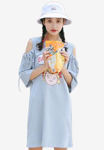 Shopsfashion blue Cheer Up Split Shoulder Dress 8959FAA4D7DE43GS_1