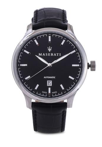 Maserati black Attrazione Swiss Made 43mm Leather Strap Watch MA410AC77HHMMY_1