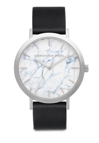 Elwood 大理石圓框手錶, 錶esprit 高雄類, 皮革錶帶