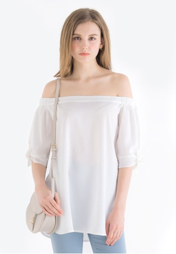Kodz white Off-Shoulder Top With Ribbon Detail 3A2CBAA6798A29GS_1