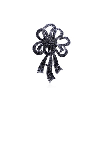 Glamorousky black Fashion Bright Plated Black Flower Brooch with Cubic Zirconia AD491ACB367419GS_1