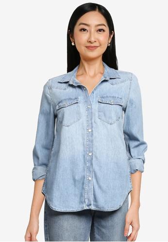 GAP blue Long Sleeve Denim Shirt 931ECAA48D0648GS_1