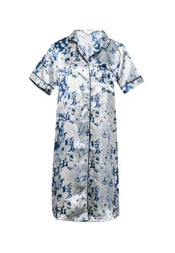Anne Wintours silver and navy Dress Daster Satin Sleepwear EDAF1AACF8B6F3GS_1