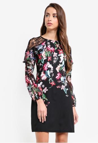 Lipsy multi Wx Courtney Print Long Sleeve Shift Dress 0F2DBAA7333AC6GS_1