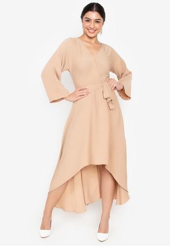 Wear Kris beige Kissable V Neck Dress With Belt And Asymmetric Hem CBA08AA33F8EB8GS_1