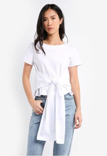 ZALORA white Front Tie Top 9941DAA228200AGS_1