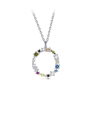 Glamorousky silver 925 Sterling Silver Fashion Simple Color English Alphabet O Pendant with Cubic Zirconia and Necklace 9DBA4AC29A3955GS_1