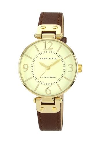Anne Klein gold and brown Anne Klein Ladies - Leather Strap Watch - 10-9168IVBN AN844AC0RGRSMY_1
