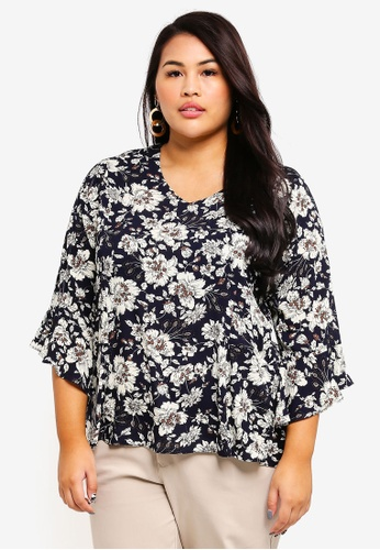 Ex'otico navy Plus Size 3/4 Seelve Printed Blouse F352CAA830ADA8GS_1