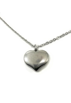 Stainless Steel Matte Puffy Heart Necklace WHT