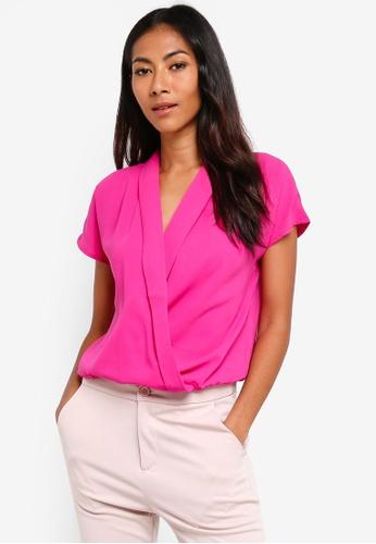 ZALORA BASICS pink Basic Lapel Wrap Top 04861AAEA4D559GS_1