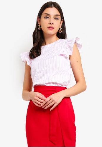 ZALORA pink and multi Ruffles Sleeves V-Neck Top B3099AAF577244GS_1