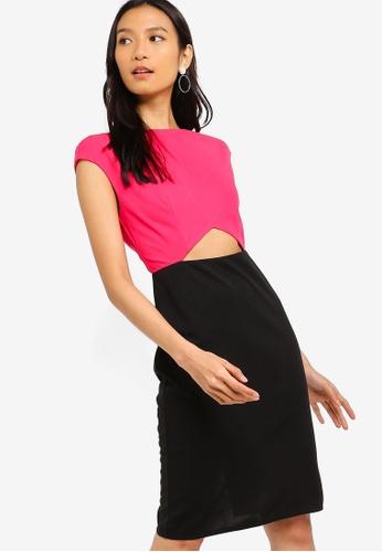 ZALORA 黑色 and 粉紅色 短袖洋裝 213A4AAA512583GS_1