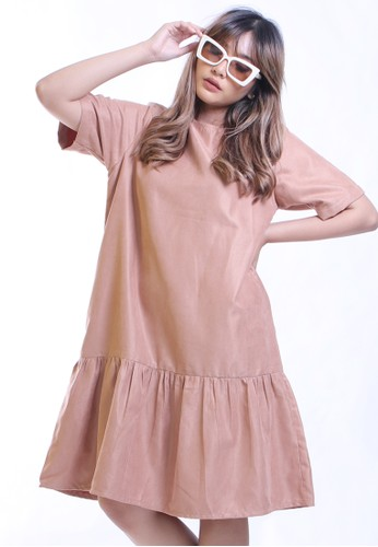 Hardware brown HARDWARE BUBBLY RUFFLE DRESS 6B5FFAABB0F898GS_1