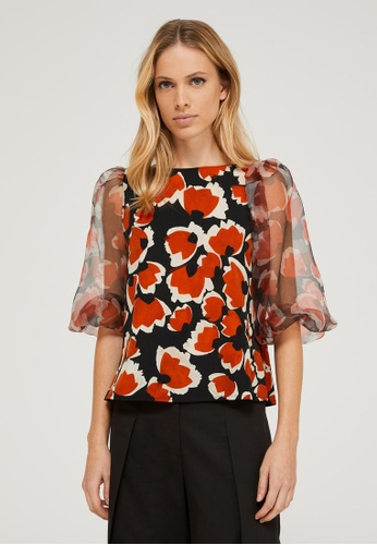 Sisley multi Floral Blouse with Puff Sleeves FBEB1AAD14D785GS_1