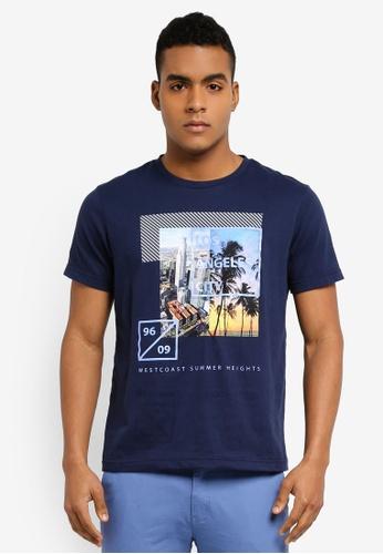 Marc & Giselle 藍色 短袖印花T恤 32E46AA55033F6GS_1