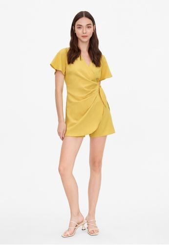 Pomelo yellow Draped Effect Wrap Romper - Yellow E76A9AA56EC310GS_1