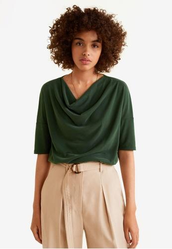 Mango green Draped Neckline T-Shirt 779D2AA8AC19EDGS_1