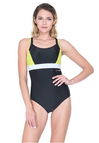 Sunseeker black Sports One-piece Swimsuit B6E2BUSDD14334GS_1