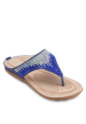 閃飾夾腳涼esprit台灣outlet鞋, 韓系時尚, 梳妝