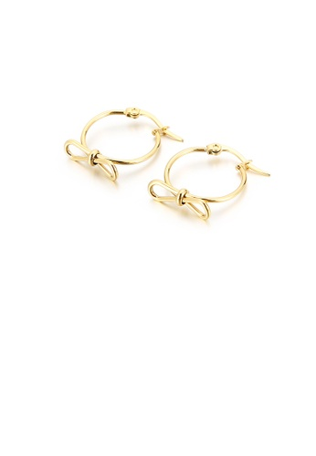 Glamorousky silver Fashion Simple Plated Gold Ribbon Geometric Circle 316L Stainless Steel Earrings 93D5CAC7884436GS_1