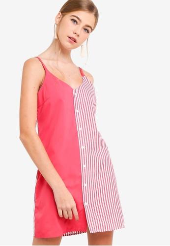 Something Borrowed red Contrast Striped Cami Dress 7E257AAFF7EFFEGS_1