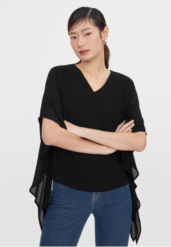 Pomelo black Flounce Sleeve Blouse - Black F9A5FAA5725127GS_1