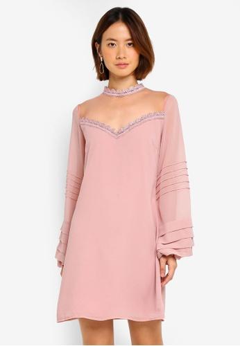 Little Mistress pink Cuff Shift Dress 1E7B8AA0AC58D2GS_1