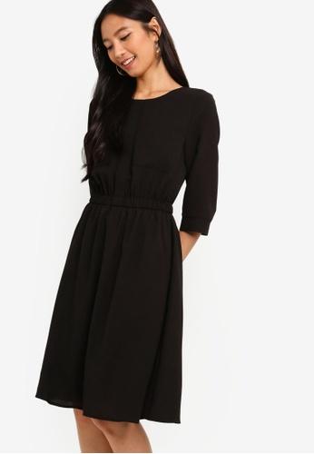 ZALORA black 3/4 Sleeves Pocket Dress 5BDA1AAD1C997AGS_1