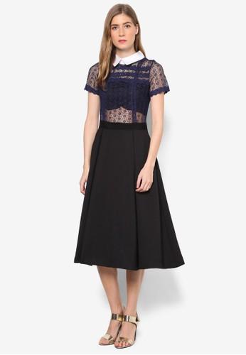Lesley's 蕾絲衣面襯衫領短袖連身裙, 服飾zalora 台灣門市, 洋裝