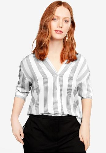 Violeta by MANGO white Plus Size Flowy Striped Blouse 00333AAB425149GS_1