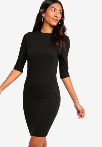 ZALORA BASICS black Basic High Neck Elbow Sleeves Jersey Dress 87E1AAA97A54A1GS_1