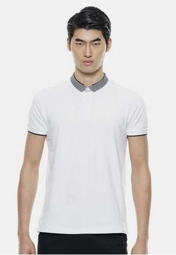 Private Stitch white Small Woven Collar Basic Polo Tees PR777AA38SGRMY_1