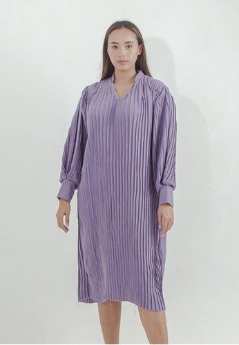 THE GOODS DEPT blue IKYK x Shop At Velvet - Pleats Shirt Midi Tunic Purple 2BD69AA00DE06FGS_1