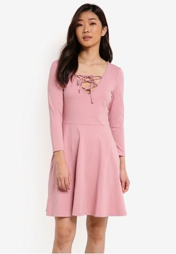 ZALORA pink Basic Lace Front Skater Dress D8948ZZ658257CGS_1