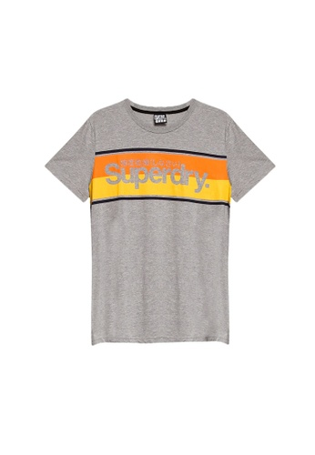 SUPERDRY grey Core Logo Stripe Tee 9C610AA08ABC97GS_1