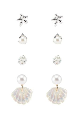 Red's Revenge white 4-In-1 By The Sea Shells Dangle & Studs Earrings Set AF306ACC8F99C0GS_1