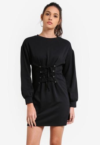 Something Borrowed black Tie Front Sweater Dress DBFB2ZZA30414CGS_1