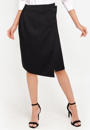 ZALORA WORK black Asymmetric Wrap Skirt D4569AA1B0CB26GS_1