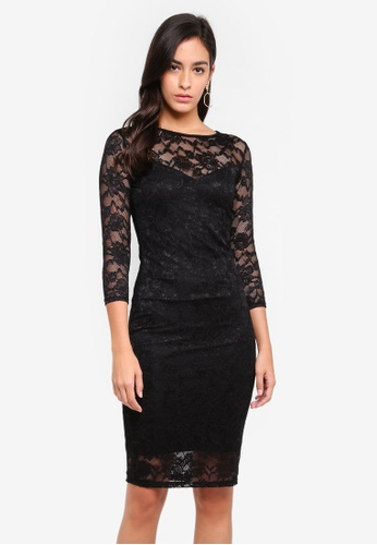 Goddiva black All Over Lace Midi Pencil Dress With 3/4 Sleeves 56547AA40C8826GS_1