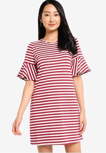ZALORA BASICS red Bell Sleeve Mini Dress 151D5AA566FCADGS_1