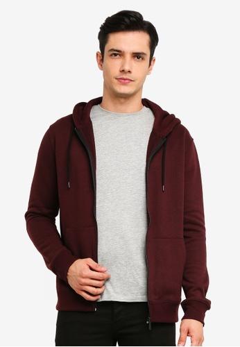 Burton Menswear London 紅色 Burgundy Zip Through Hoodie 5B92FAAC18B95BGS_1