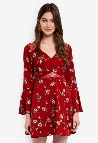 Something Borrowed red Lace Panel Mini Dress BA0ABAA33394A1GS_1