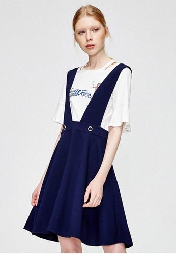 Hopeshow blue Adorable Plated Suspender Skirt HO442AA0FQSTSG_1