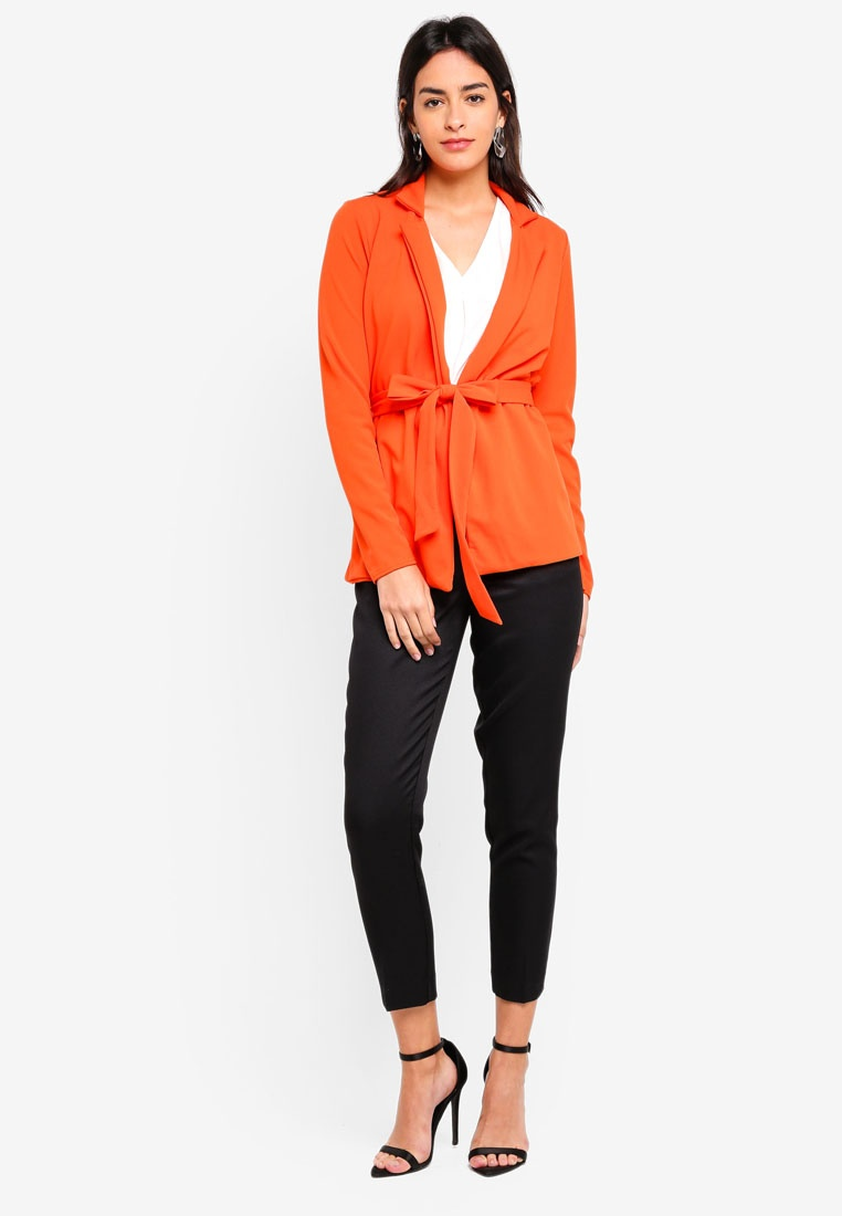 MISSGUIDED Tie Double Blazer Orange Breasted Waist xwCqwI7